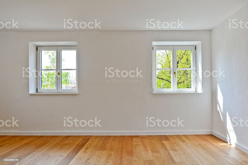 Living room in an old building, Apartment with parquet flooring stock photo