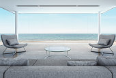 living room in beach house, modern interior with sea view