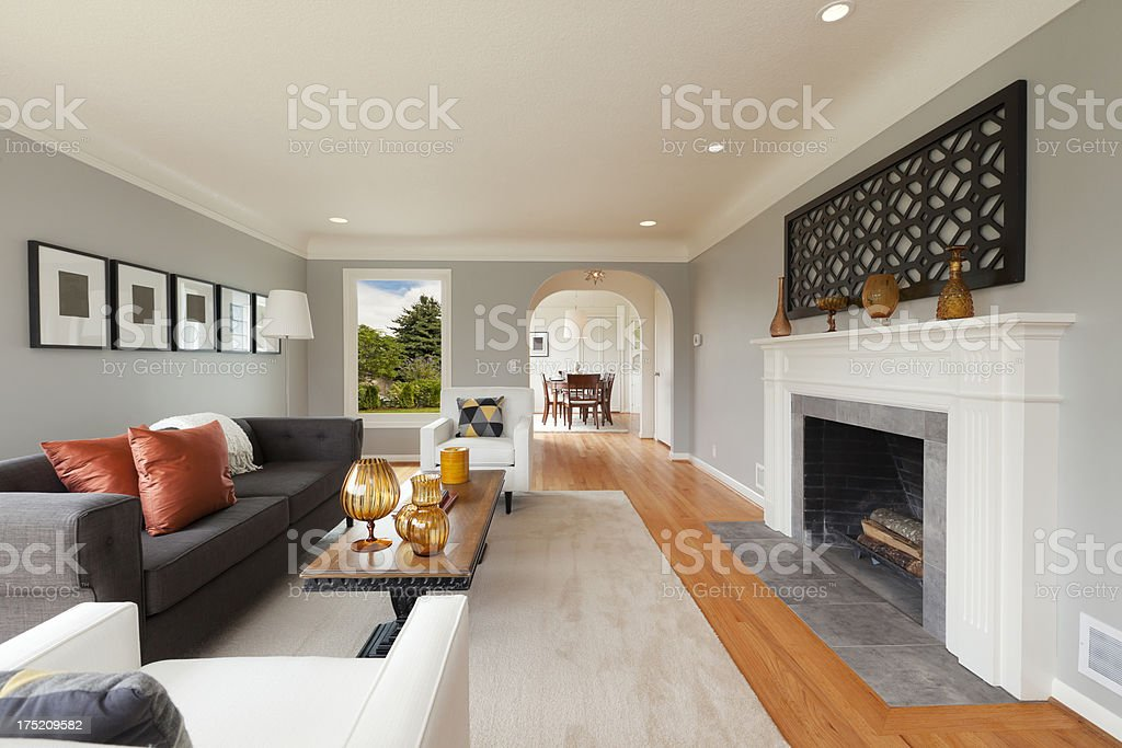 Living Room in Beautiful House royalty-free stock photo