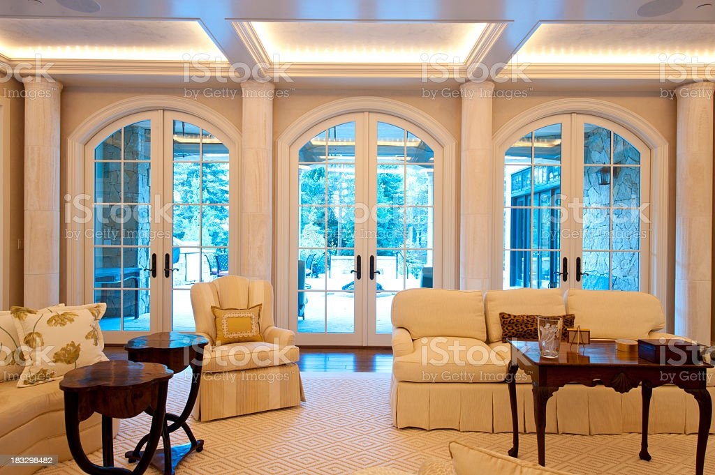 Living room in luxurious mountain home stock photo