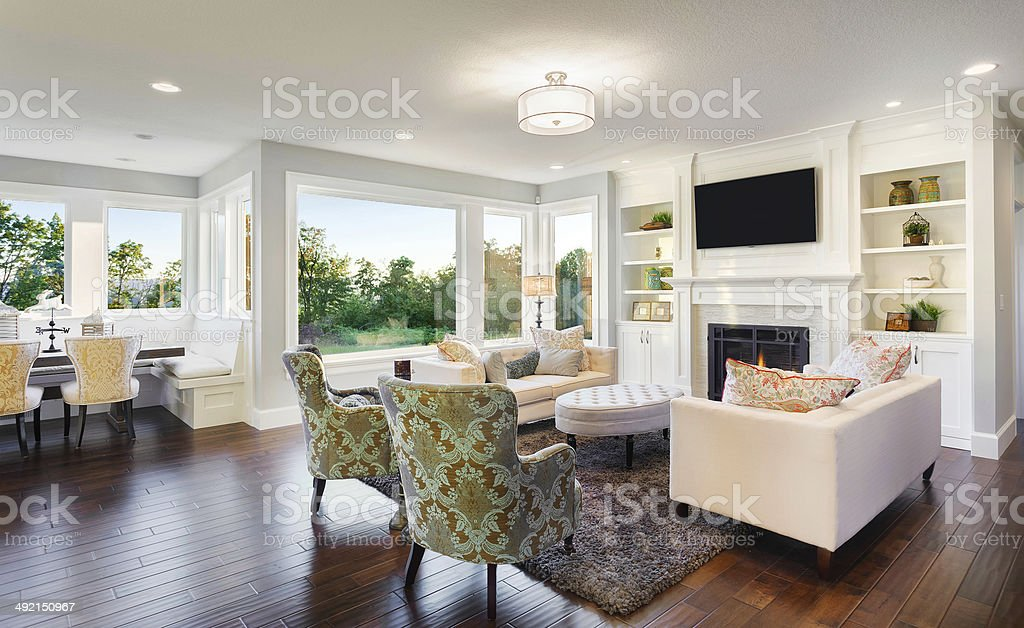 Living Room in Luxury Home stock photo