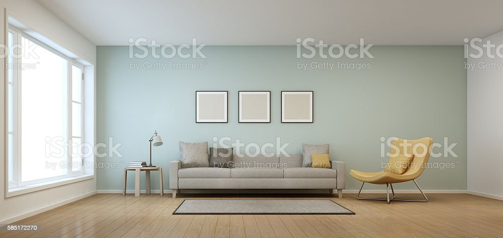 Living room in modern house stock photo
