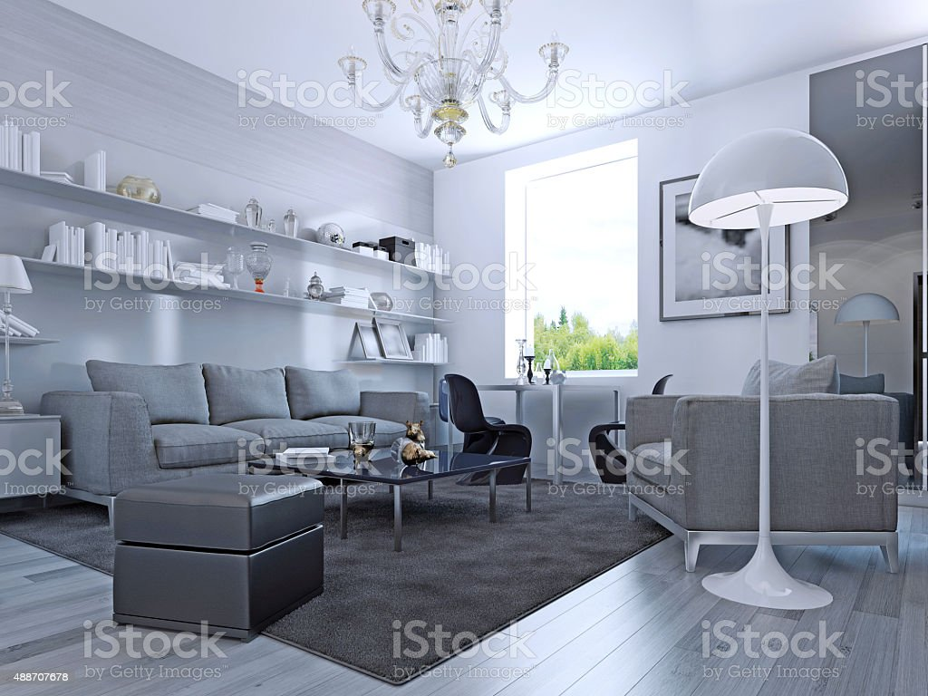 Living room in modern style stock photo