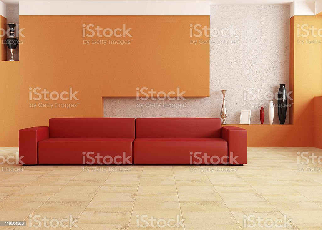 Living room in red and orange color royalty-free stock photo