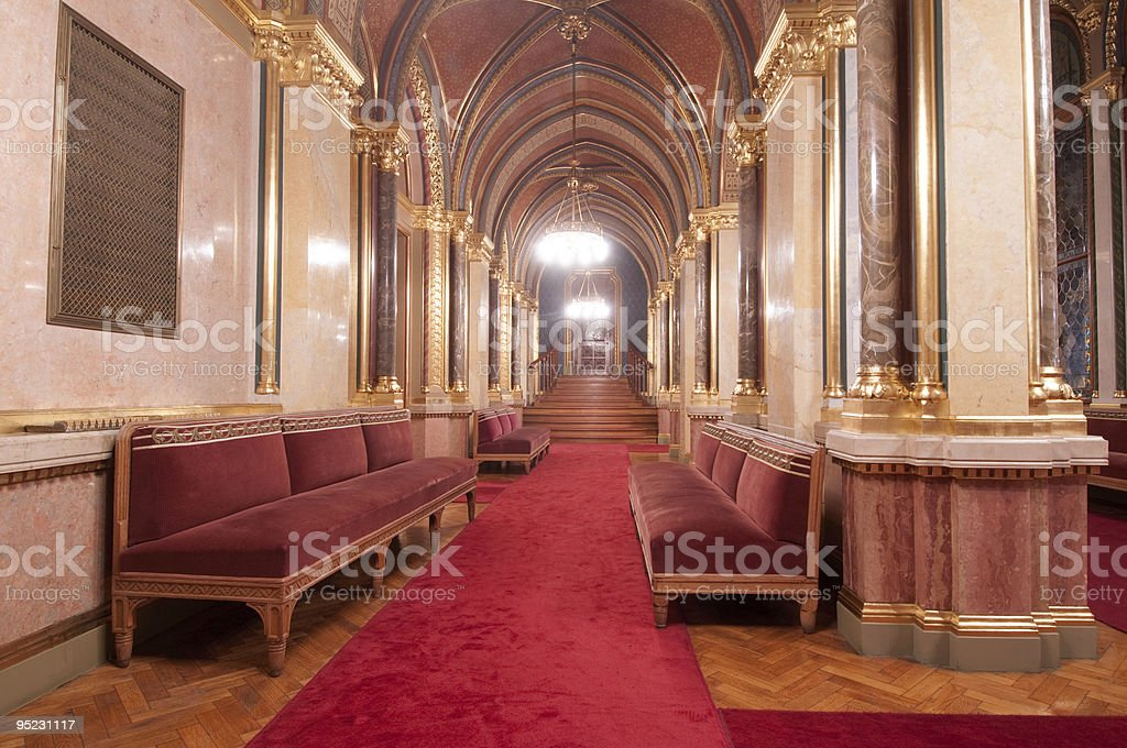 Living room in the Hungarian Parliament stock photo