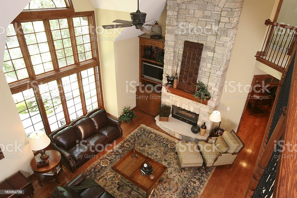 Living room in upscale residential home. royalty-free stock photo