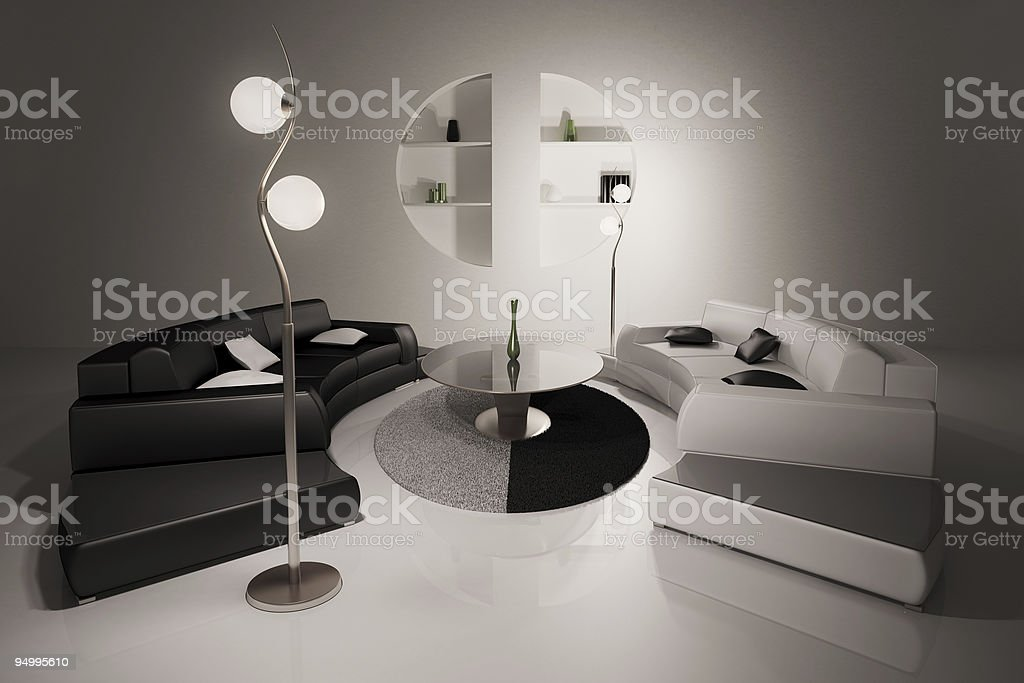 Living room interior 3d render royalty-free stock photo