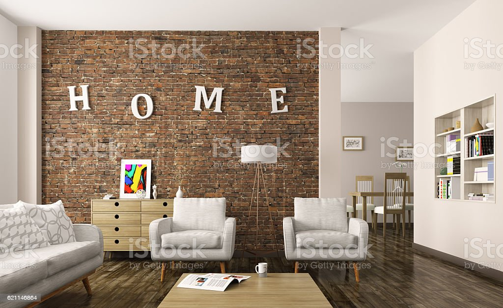Living room interior 3d rendering stock photo