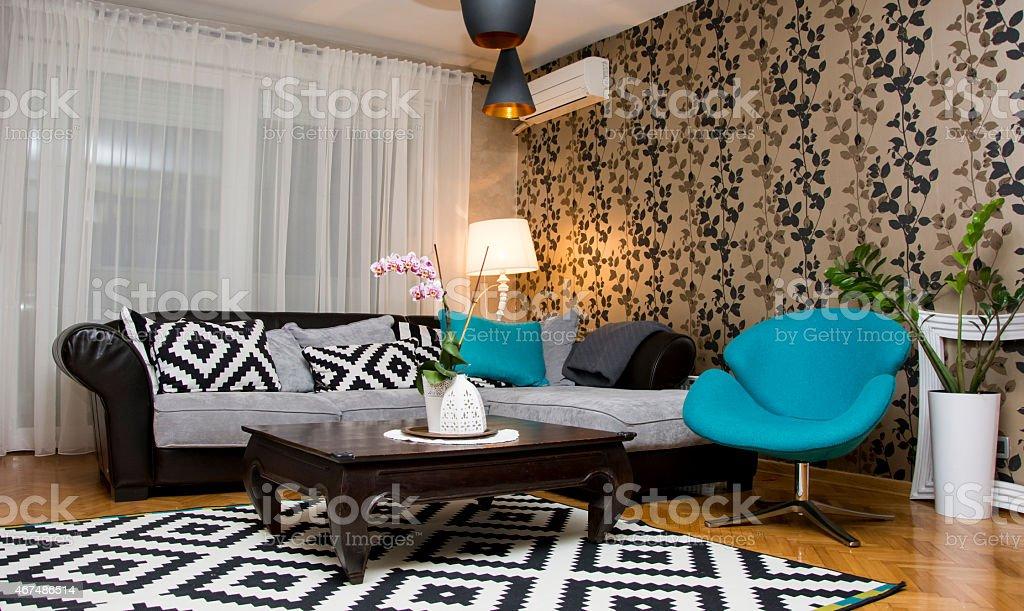 Living room interior design stock photo