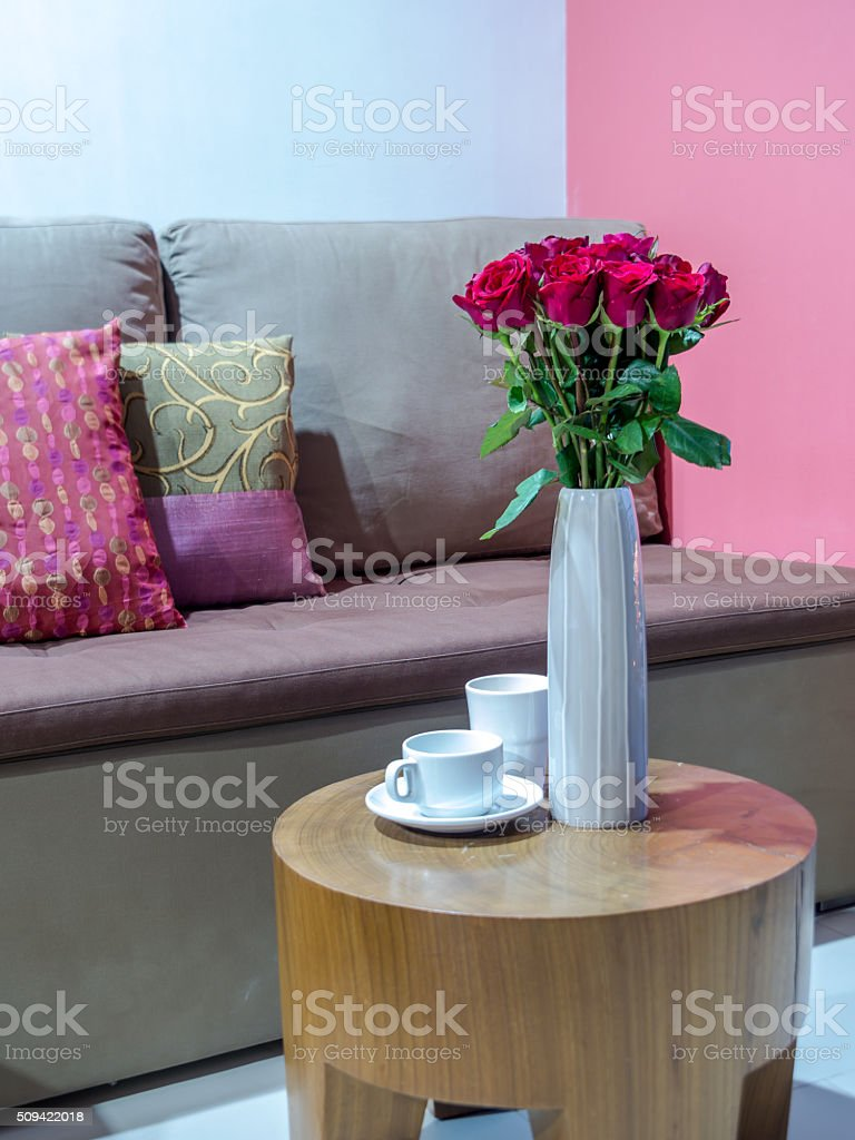 Living Room Interior Design With Flower Vase Home Decoration Concept Royalty Free Stock Photo