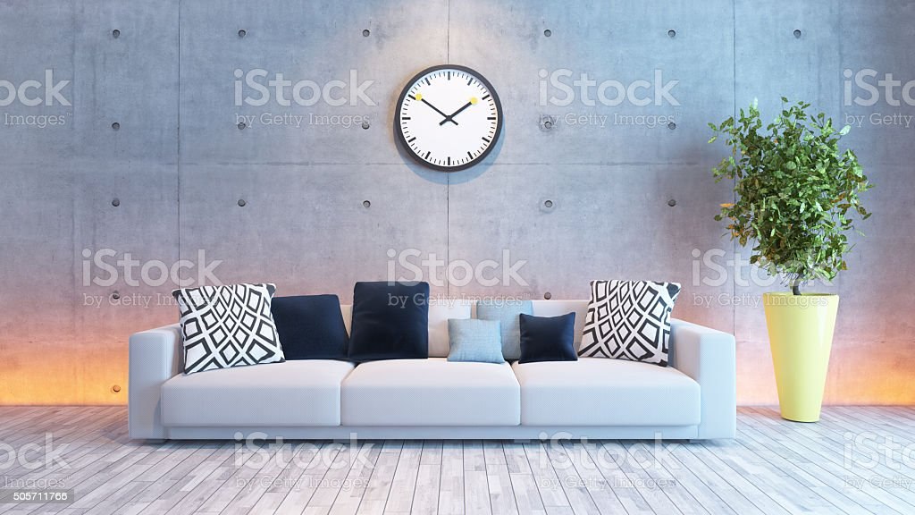 living room interior design with under light concrete wall stock photo