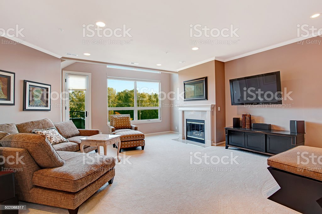 Living room interior in modern apartment stock photo