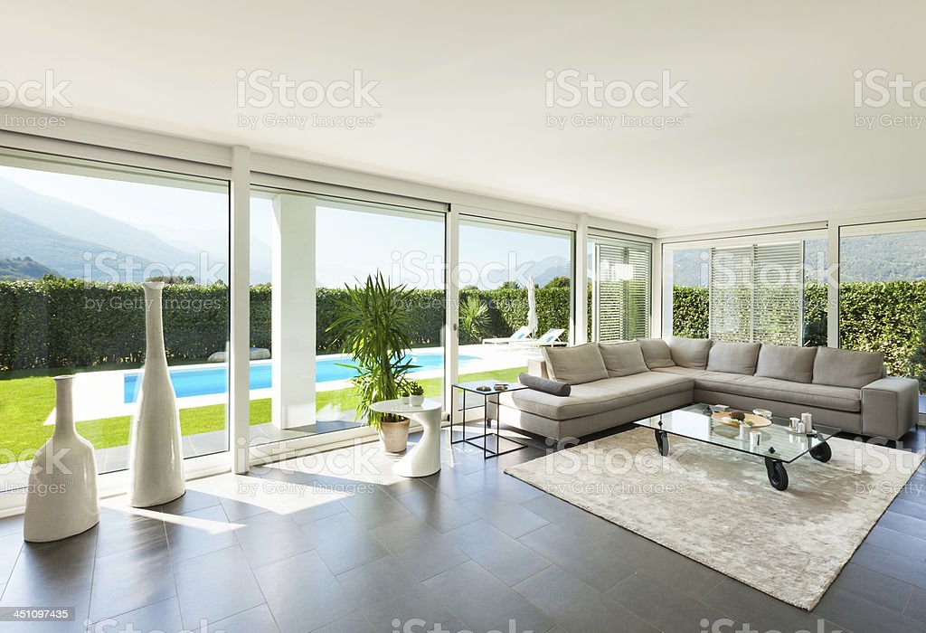 Living room interior in modern villa stock photo