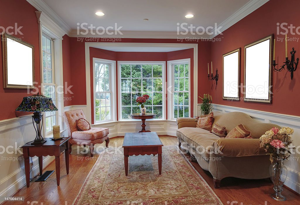Living Room Interior With Bay Window stock photo