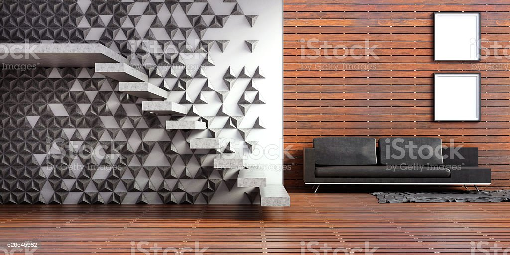 Wohnzimmer Interieur Loft Holz Und Beton Wand Treppe 3D Lizenzfreies Stock Foto