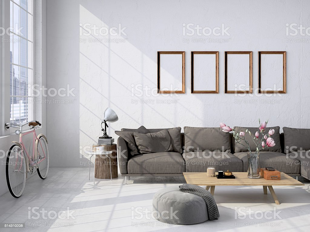 living room loft interior. 3d rendering stock photo