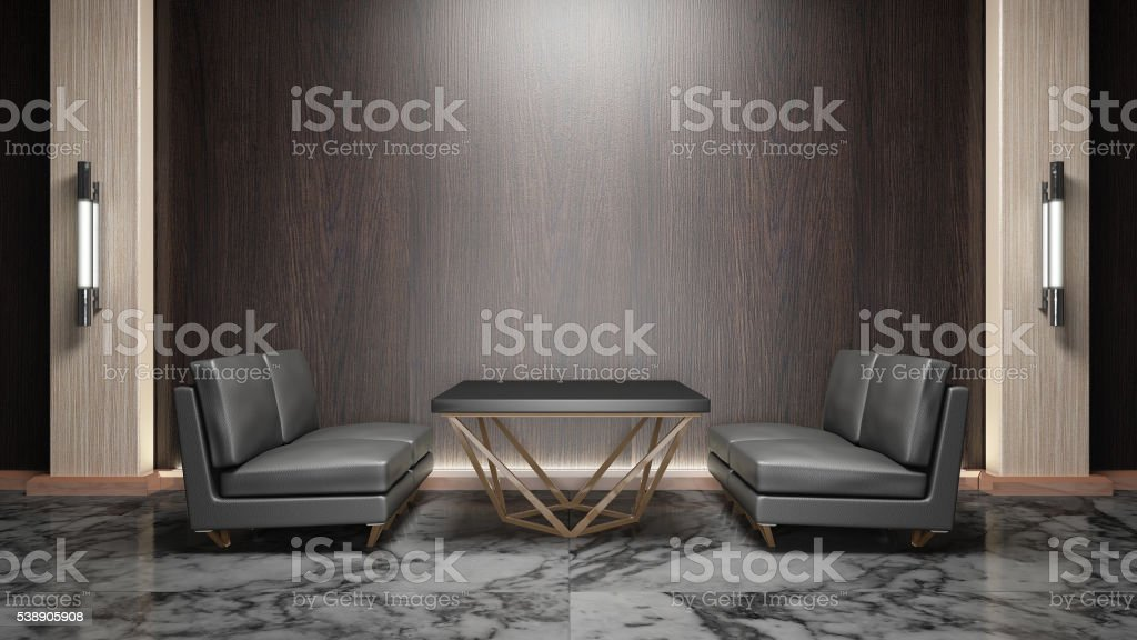 Living room modern style wood mix marble  3d rendering stock photo