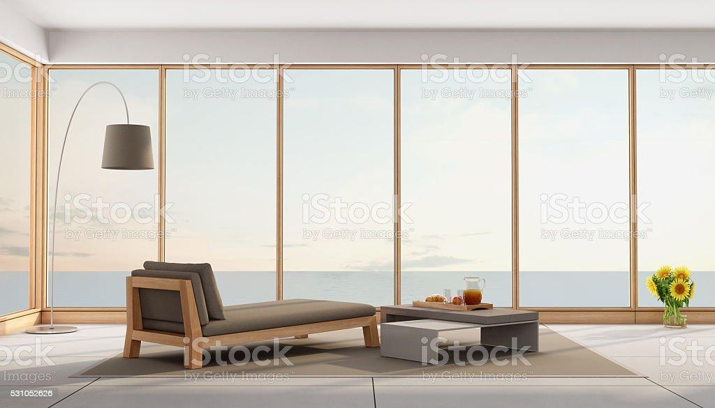 Living room of a holiday villa stock photo