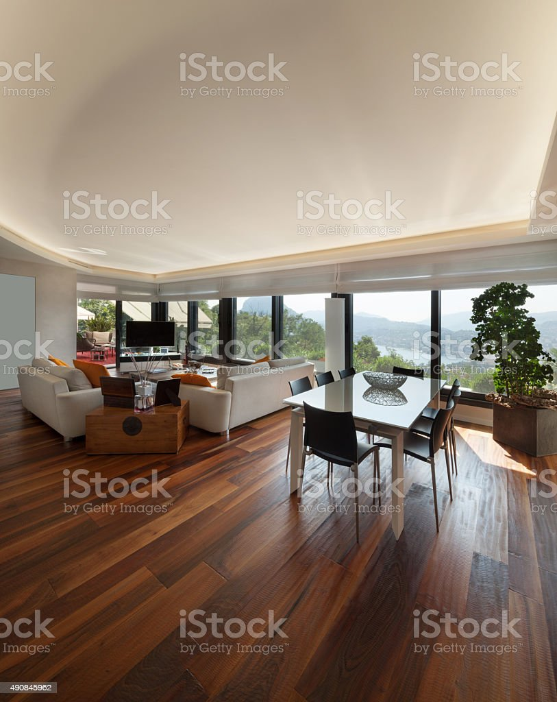living room of a luxury apartment stock photo