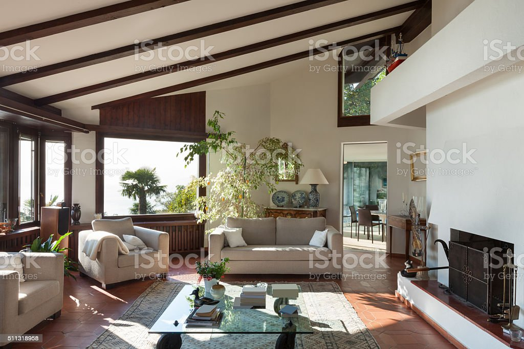 living room of a rustic house stock photo
