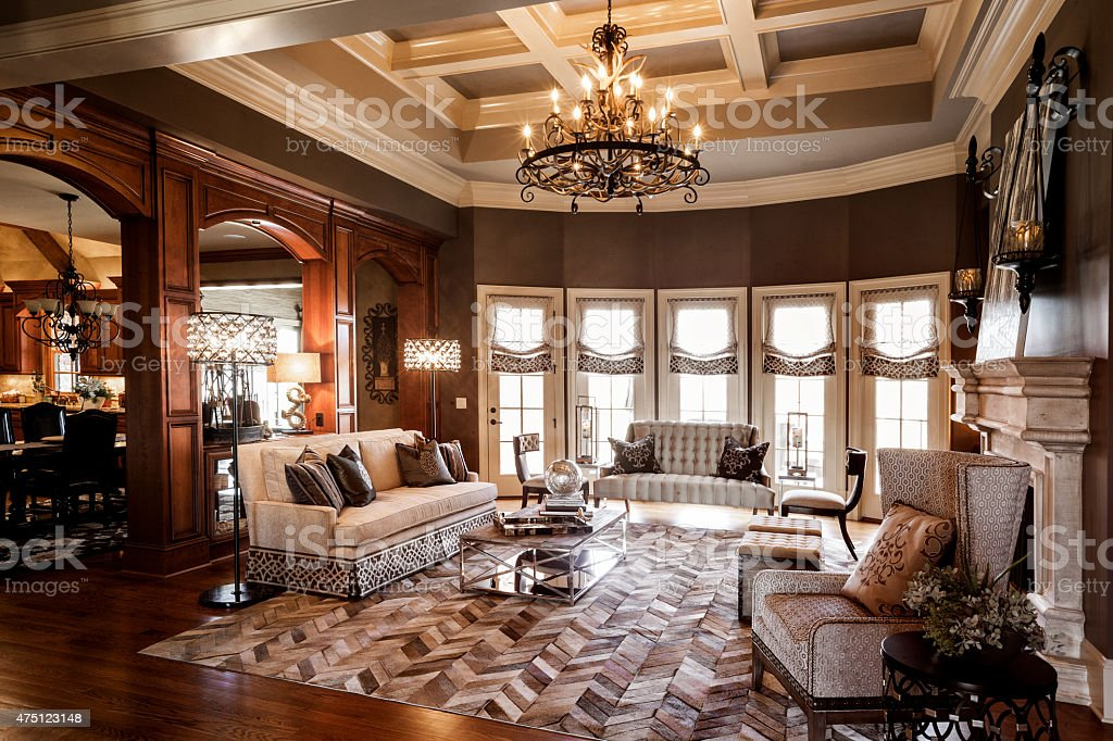 Living Room of Expensive Home stock photo
