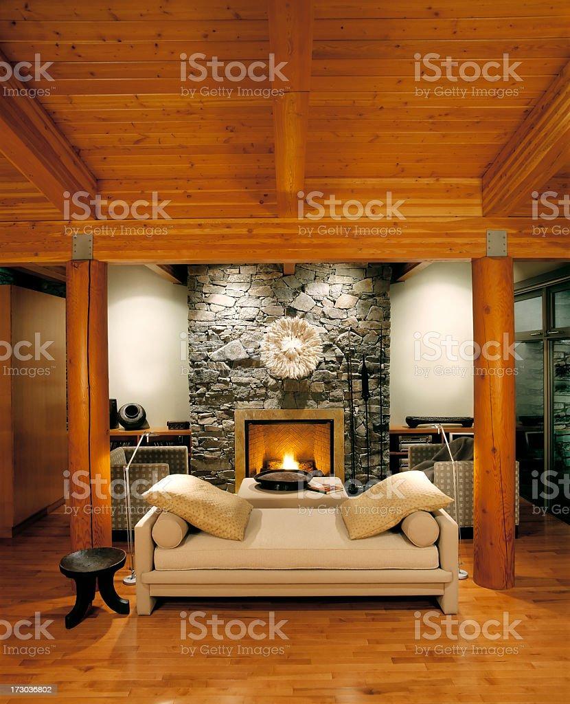 Living room of luxury estate home stock photo