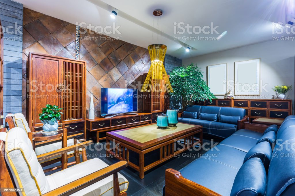 Living room office furniture stock photo