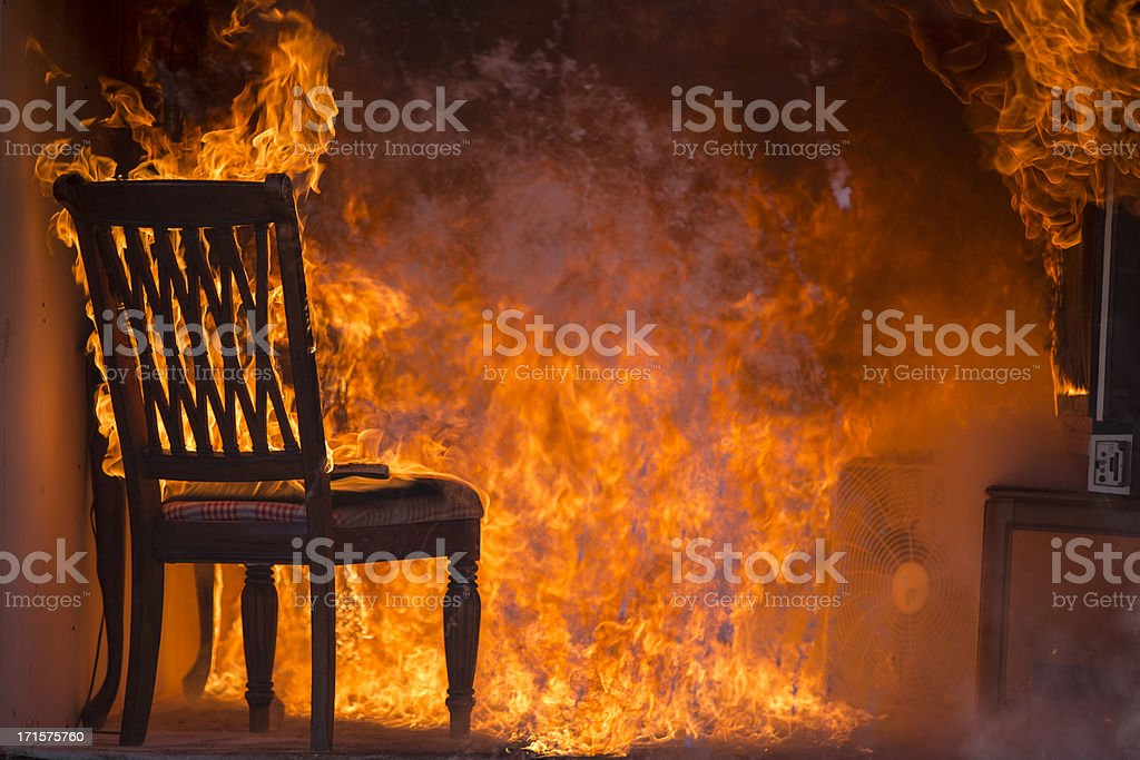 Living Room On Fire stock photo