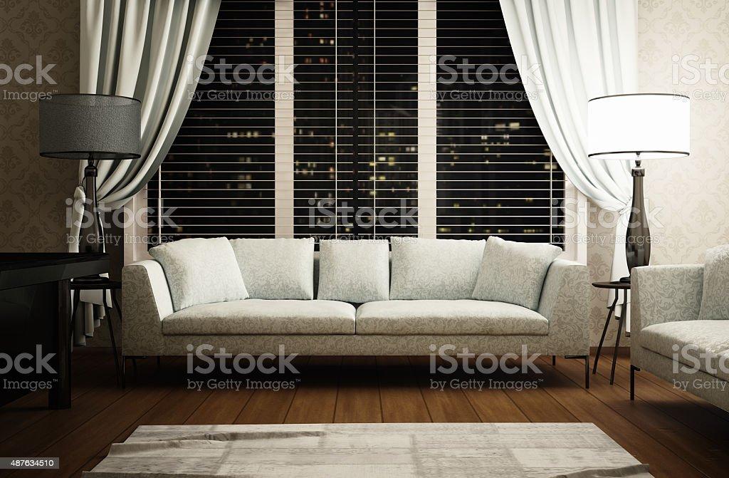 Living room or office, interior scene stock photo