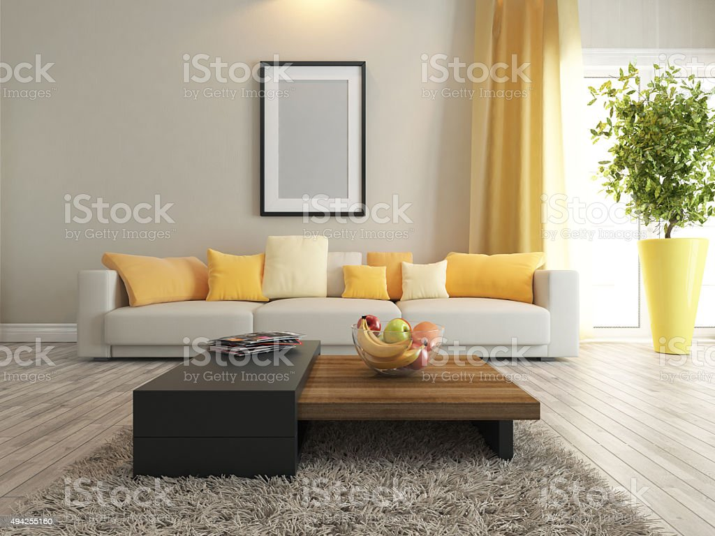 living room or saloon interior design rendering stock photo