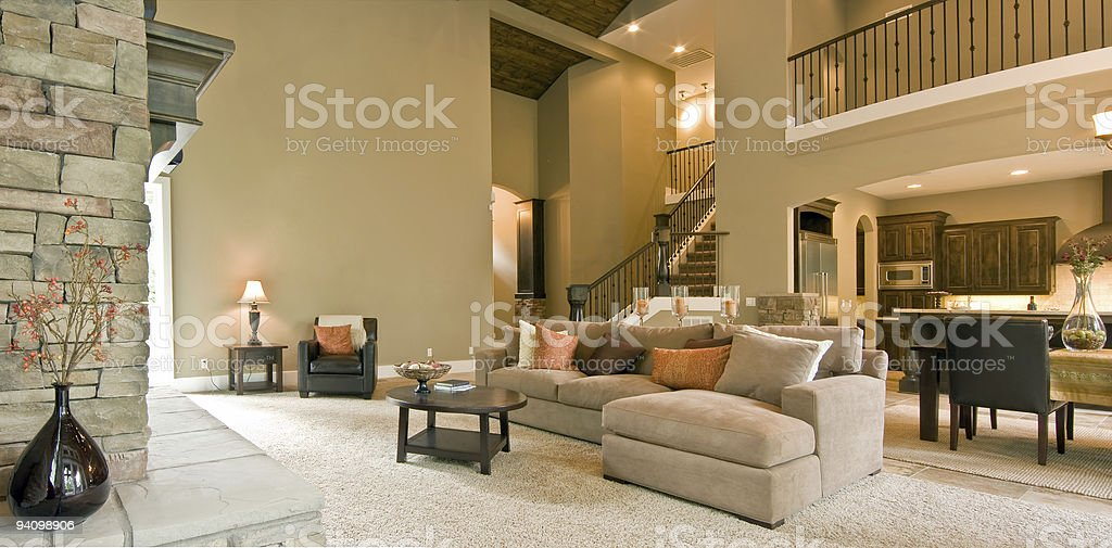 Living Room Panorama in Luxury Home stock photo
