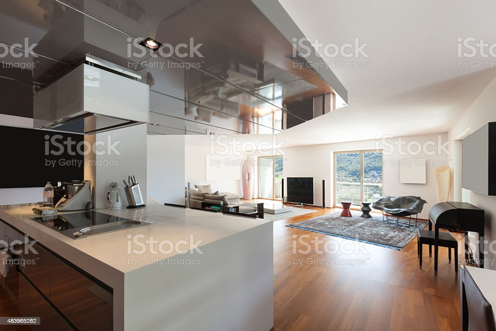 living room, parquet floor stock photo