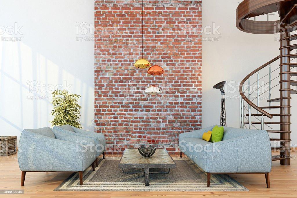 Living room setup around a brick wall stock photo