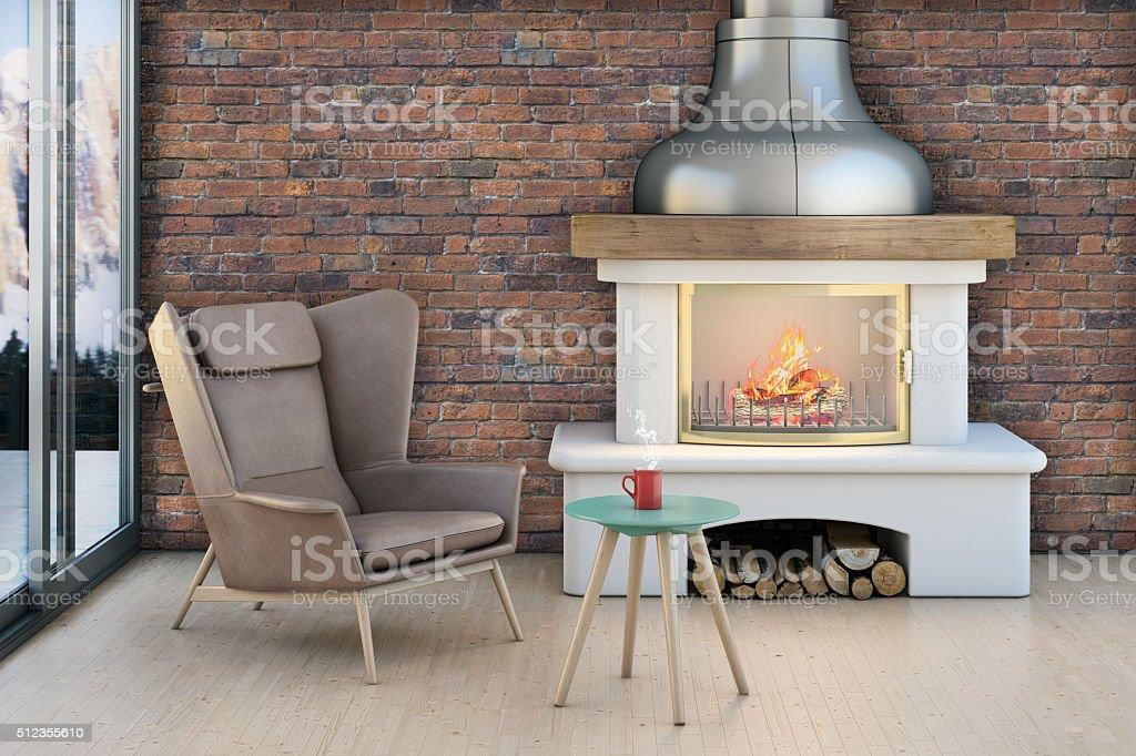 Living room setup around a fireplace on a brick wall stock photo