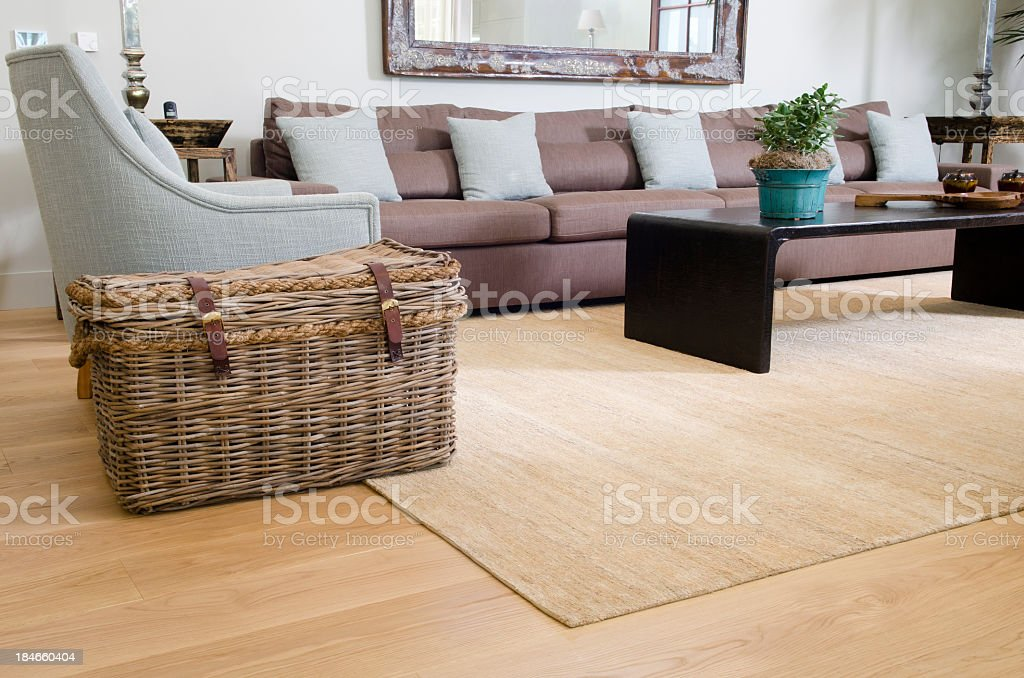 Living room showing a wicker basket stock photo