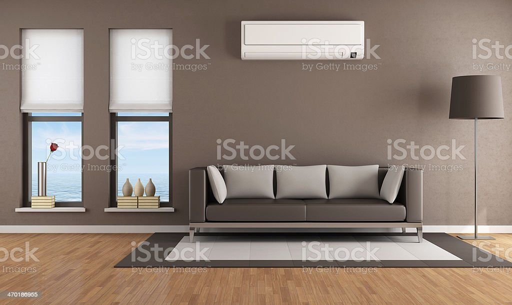 Superb ... Living Room With Air Conditioner Stock Photo ... Nice Look