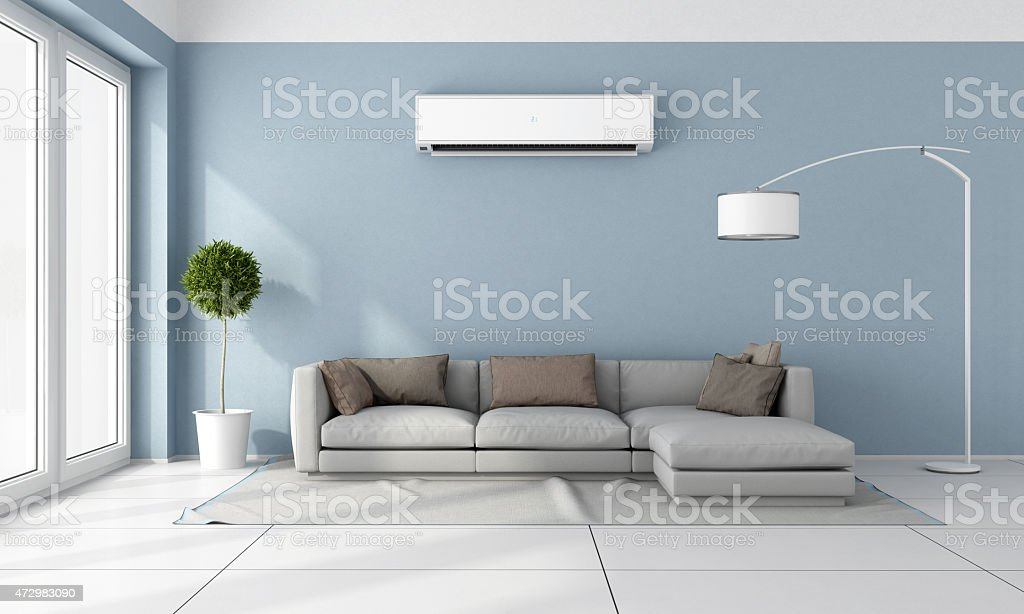 Living room with air conditioner stock photo