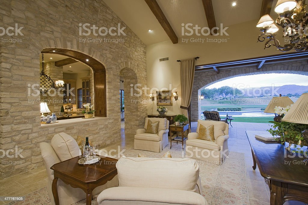 Living Room With Armchairs And Table stock photo