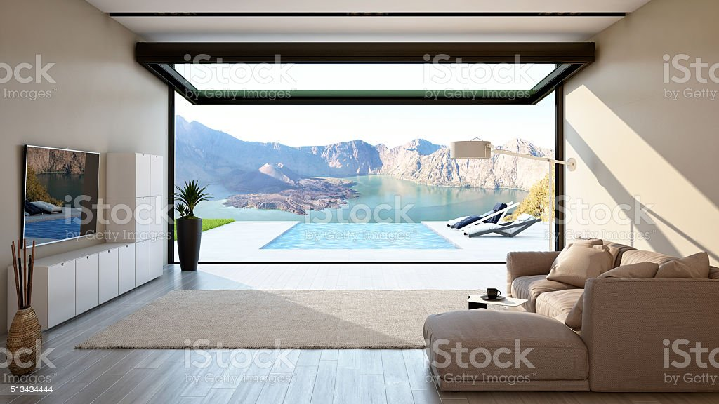 Living Room with Big Open-Sliding Window stock photo