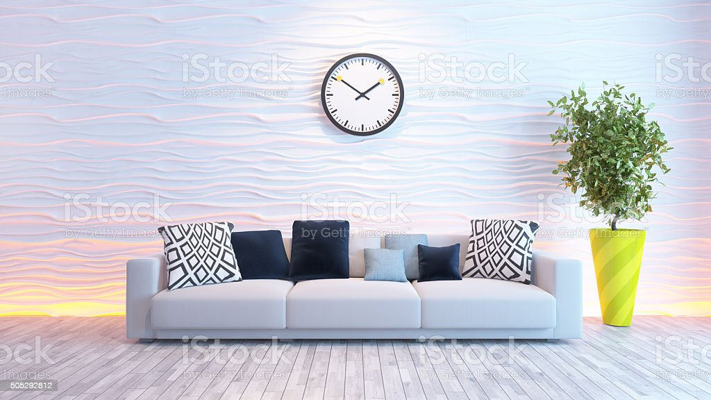 living room with big watch on white wave wall stock photo