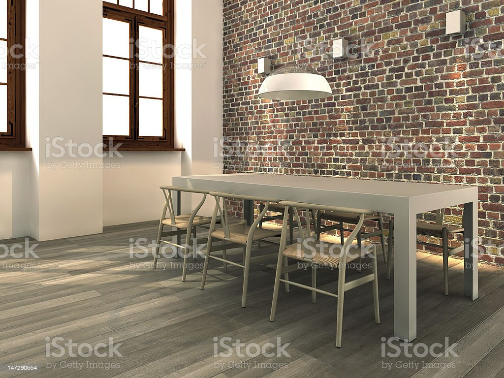 Living room with brick wall and empty table stock photo