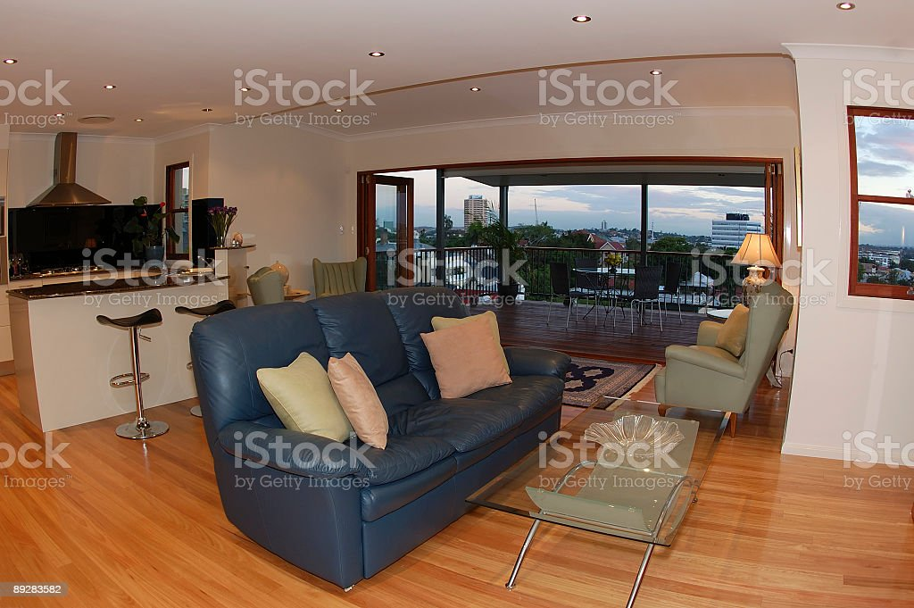 Living Room with City View royalty-free stock photo