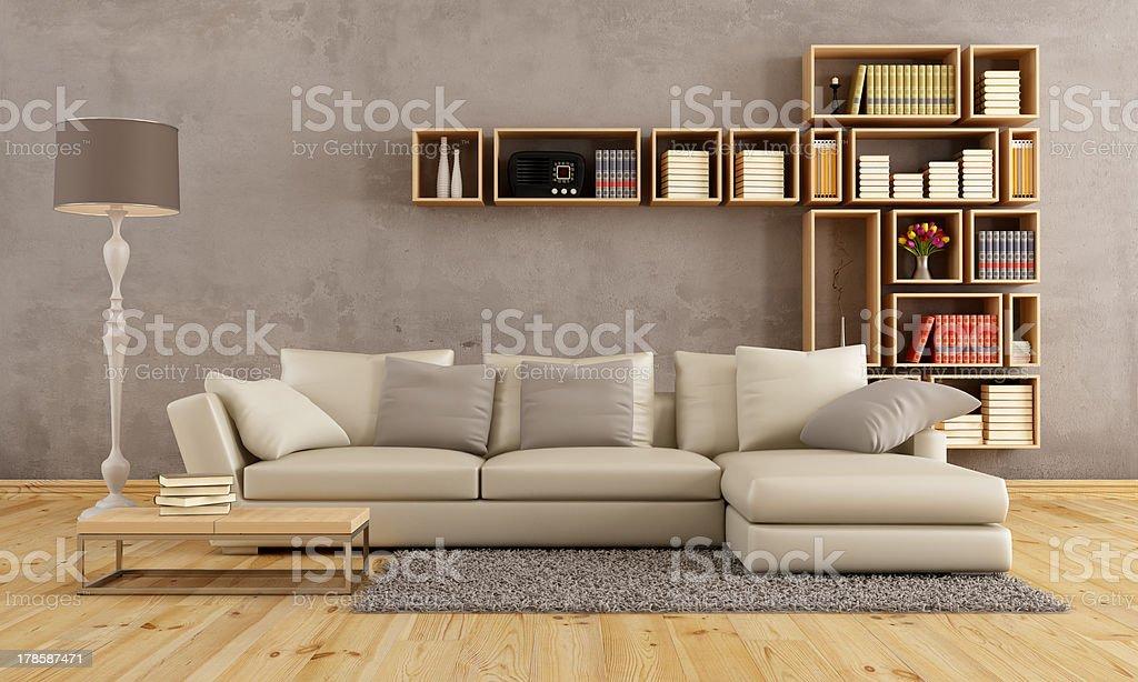 Living room with elegant sofa stock photo