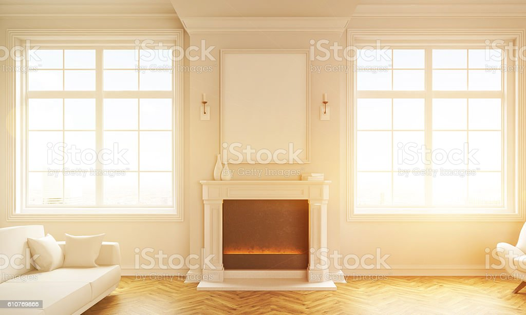 Living room with fireplace toning stock photo