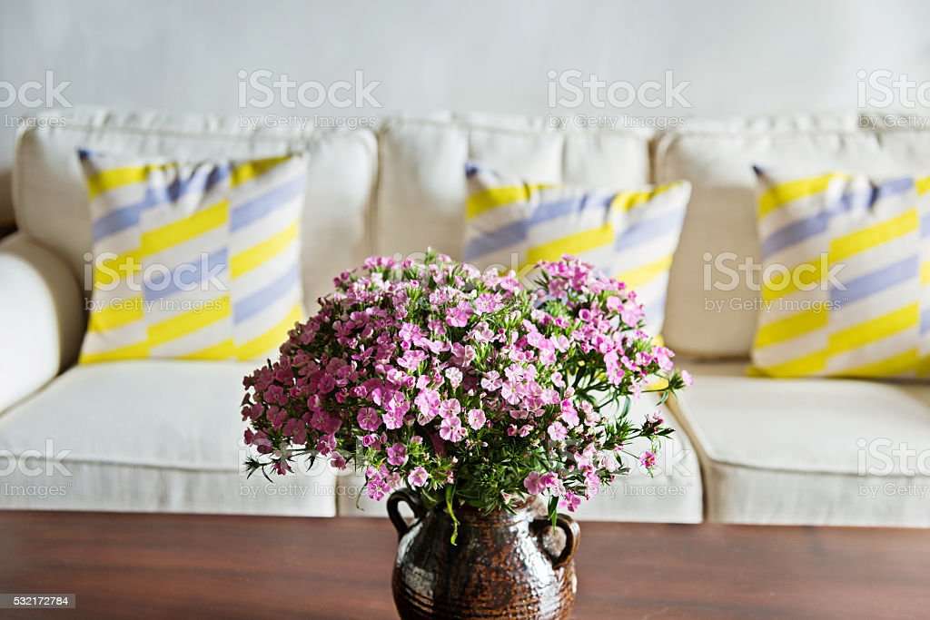 Living room with flower stock photo