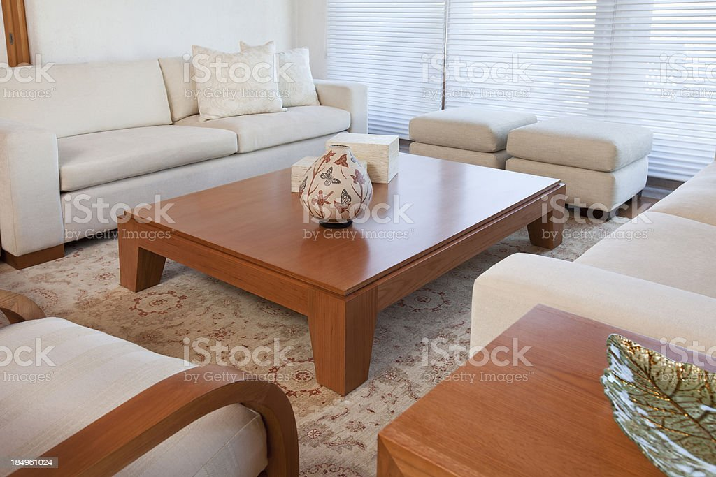 Living Room With Furnishings In A Modern House stock photo