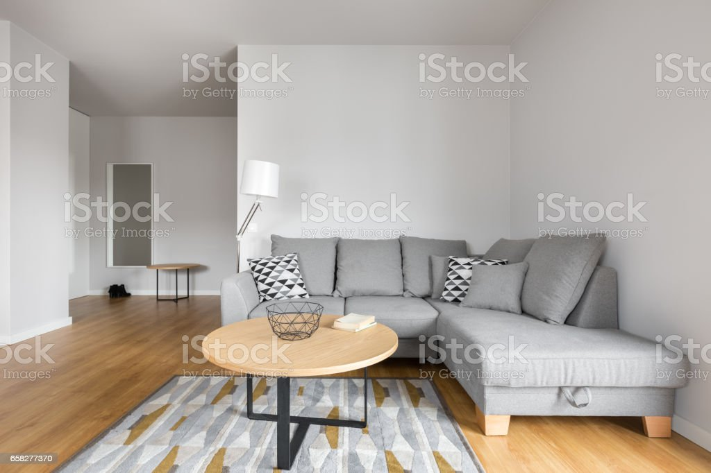 Living room with grey sofa stock photo
