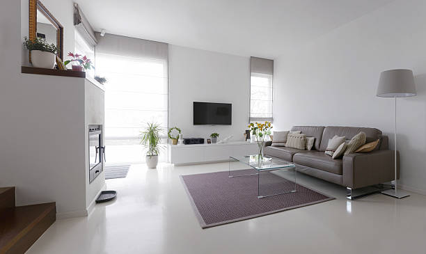 Living Room With Leather Sofa And Glass Table Stock Photo Mans Work Epoxy Floor