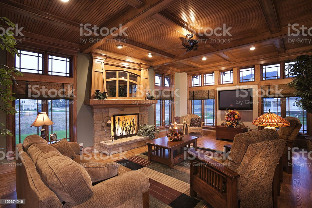 Living room with mission style decor. stock photo