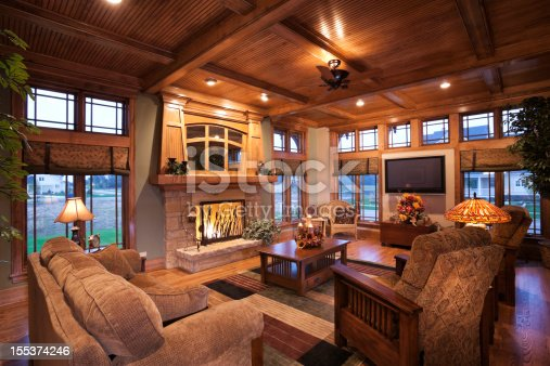 Living Room With Mission Style Decor stock photo 155374246 iStock